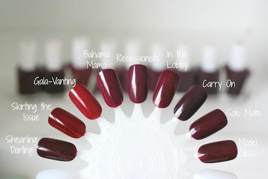 Essie Burgundy Comparison: Bahama Mama, Gala-Vanting, Model Clicks ...