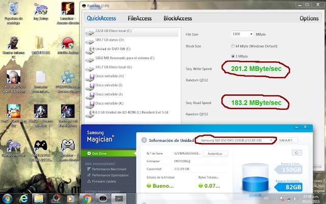 SSD Samsung EVO velocidad