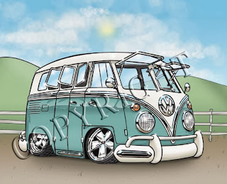 "VW Bus, Green - Art Print (8""x10"" or 5""x7"")"