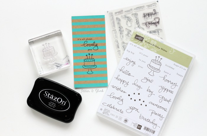Stamp a bookmark with a fun sentiment from the Stampin' Up Endless Birthday Wishes Stamp set. |sponsored| pitterandglink.com