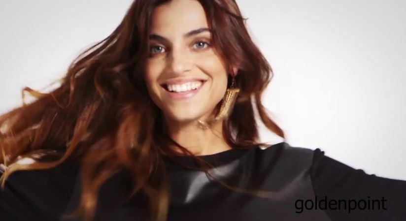 Modella Goldenpoint pubblicità modella con cappello - Testimonial Spot 2016