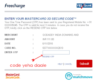 Freecharge Credit Card