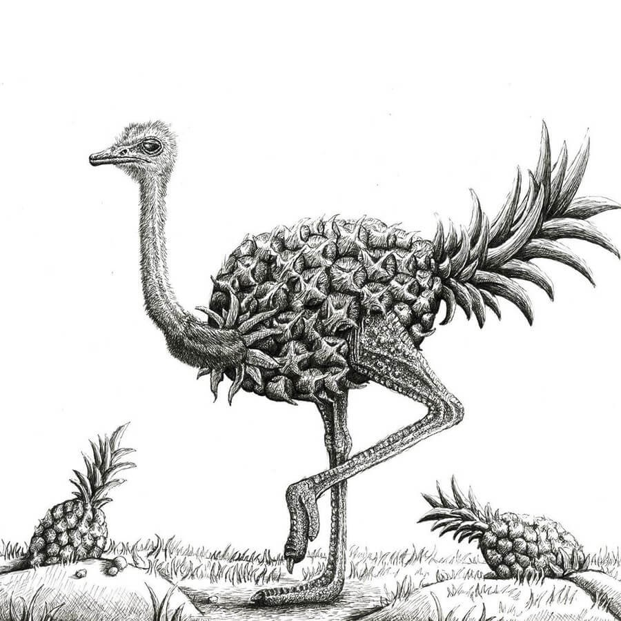 12-Pineapple-ostrich-Tim-Andraka-Funny-Animals-www-designstack-co