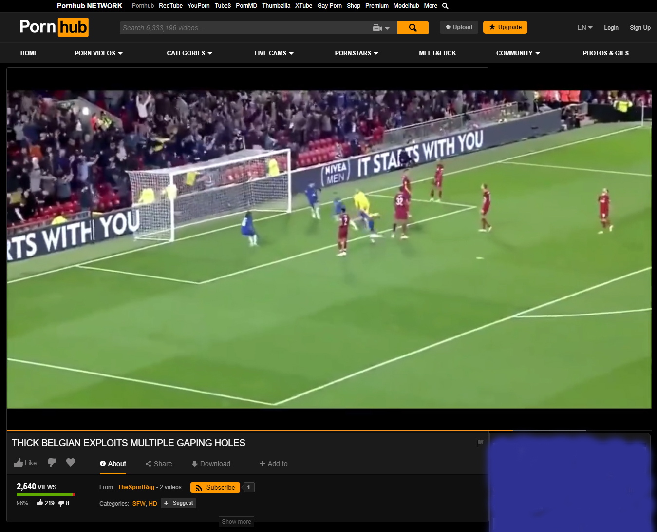 Eden Hazard's goal vs Liverpool so filthy it made it onto Pornhub