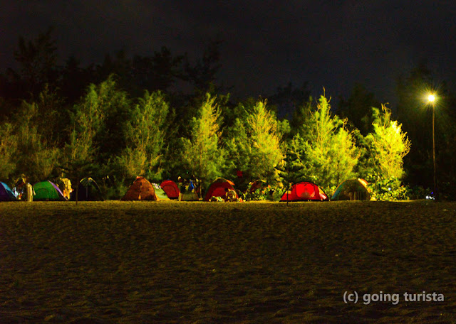 Beach campers at night in Zambales Philippines.