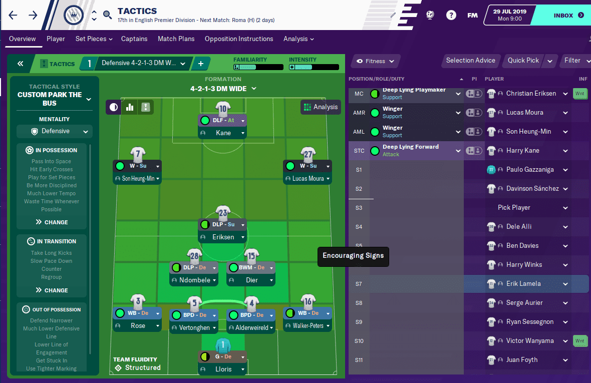 Mourinho's Park the Bus tactic in Football Manager 2020