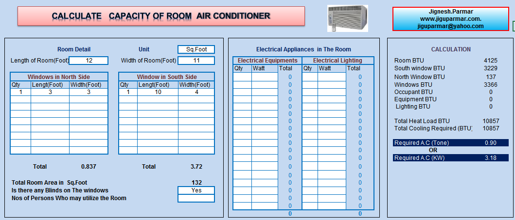 Room Air Conditioning Size Calculator Excel Sheet