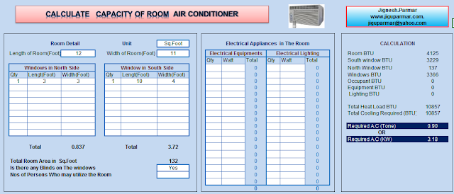 Air Conditioning Size Calculator Excel Sheet