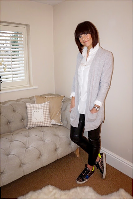 My Midlife Fashion, Marks and Spencer Pure Cashmere Cardigan, Golden Goose Leopard Print Trainers, Zara faux leather leggings, Uniqlo stand up frill collar blouse