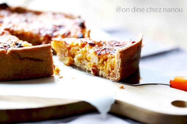 tarte au butternut , poireaux , speck et parmesan, épeautre