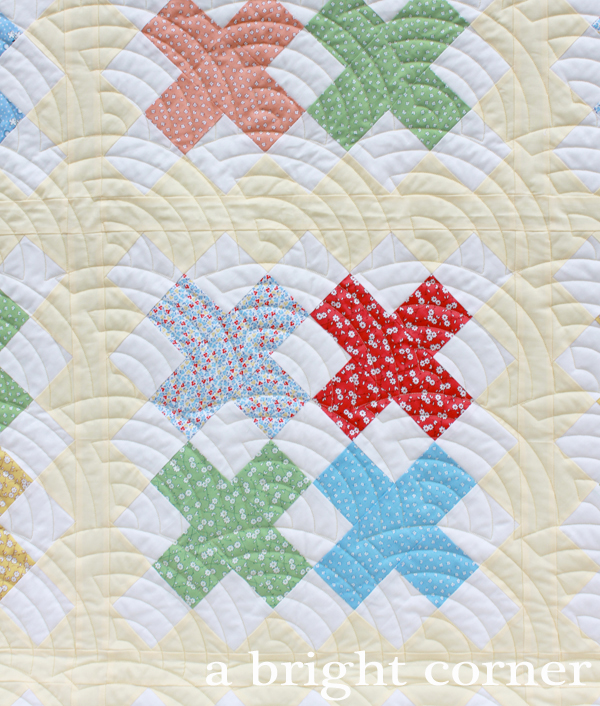 Cross Stitch quilt pattern in 1930's repro fabrics