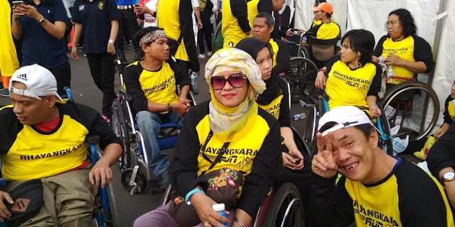Aksi Difabel di Bhayangkara Run Olahraga sekaligus Silaturahmi