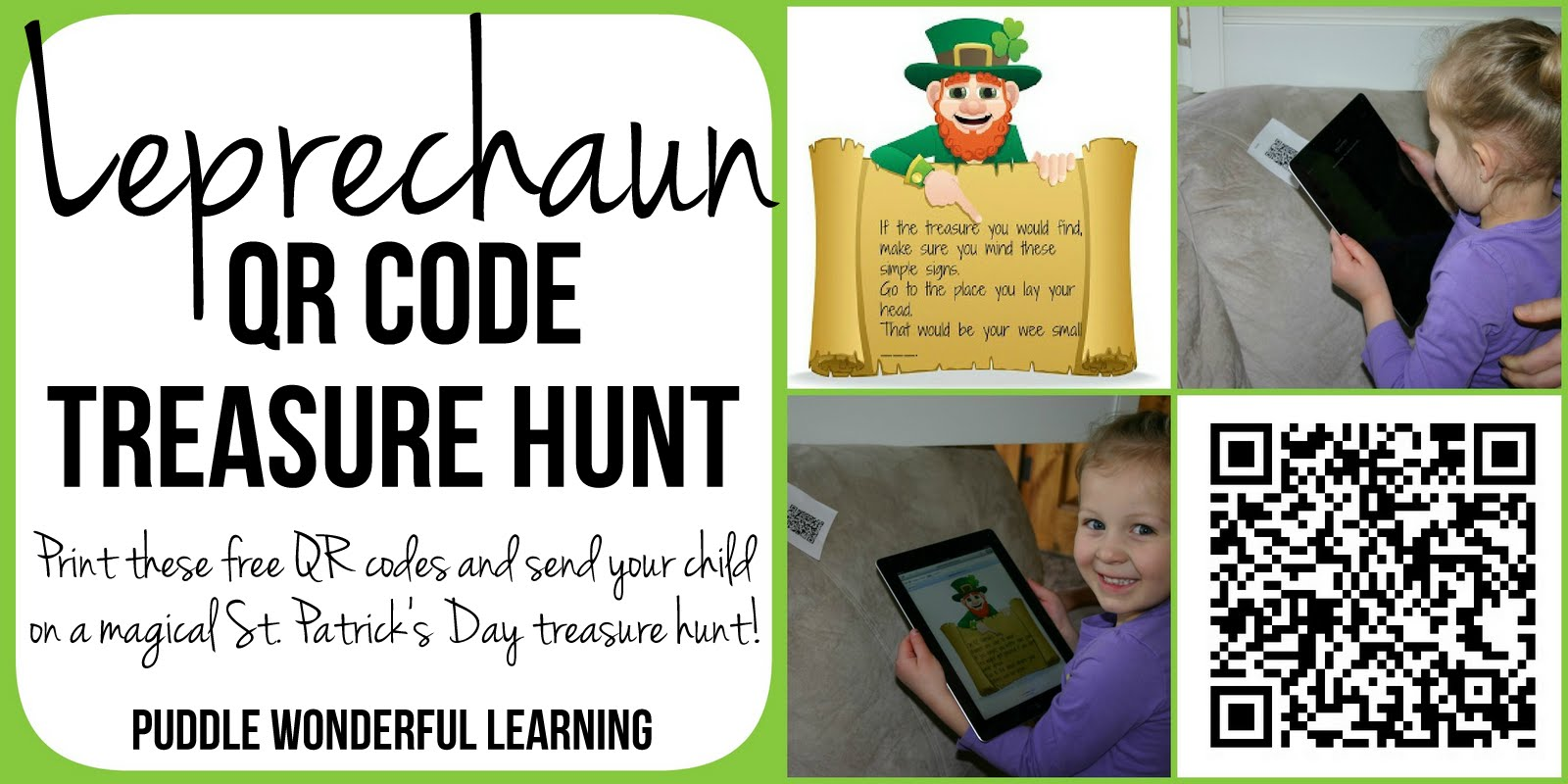 Puddle Wonderful Learning Elementary Activities Leprechaun Treasure Hunt With Qr Codes