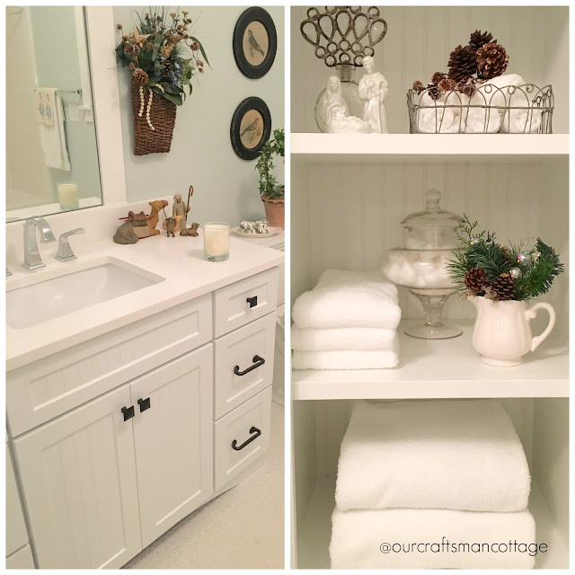 Craftsman style cottage, Craftsman home, cottage style, bathroom, Shaker style cabinets, beadboard, shelves, white and bright, ironstone, white towels, home tour, featured home