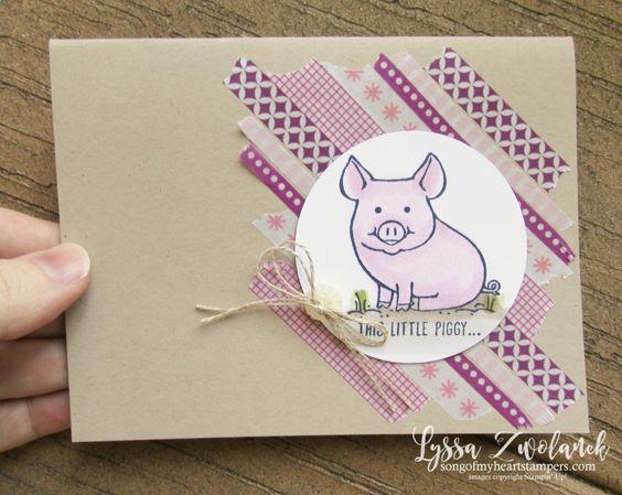 Carte Stampin'Up! créée avec le jeu Petit groin rose