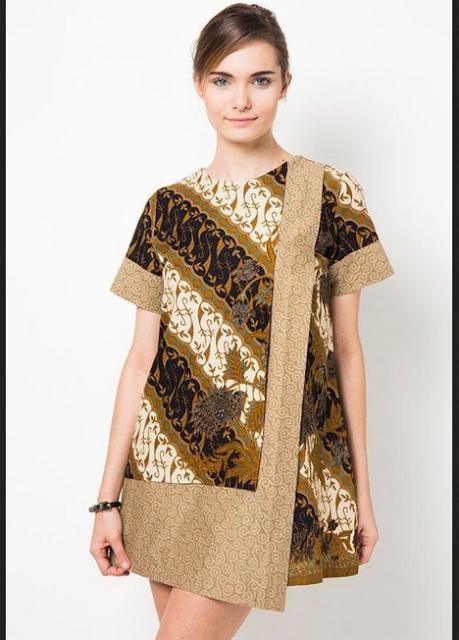 Batik wanita ke kantor dengan potongan semi-asimetris