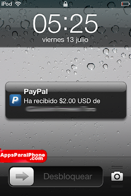 Notificaciones en tu iPhone/iPod de Paypal