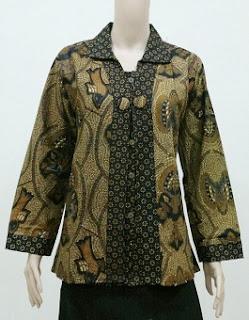 Gambar Model Baju Batik Kerja Guru Lengan Panjang
