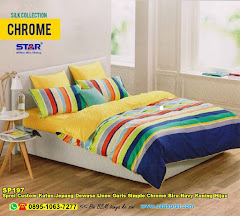 Sprei Custom Katun Jepang Dewasa Linen Garis Simple Chrome Biru Navy Kuning Hijau