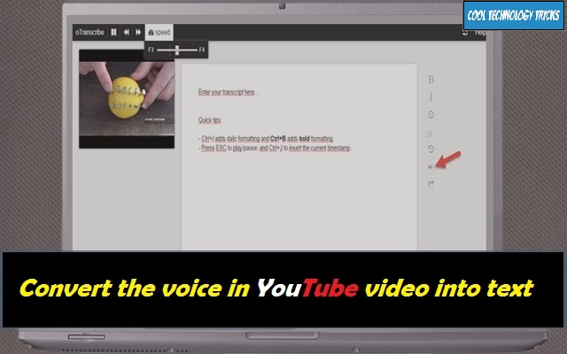 How to convert the voice in YouTube video into text and