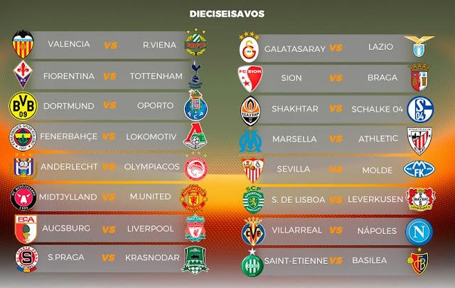 Dieciseisavos Europa League 2015-2016. Calendario