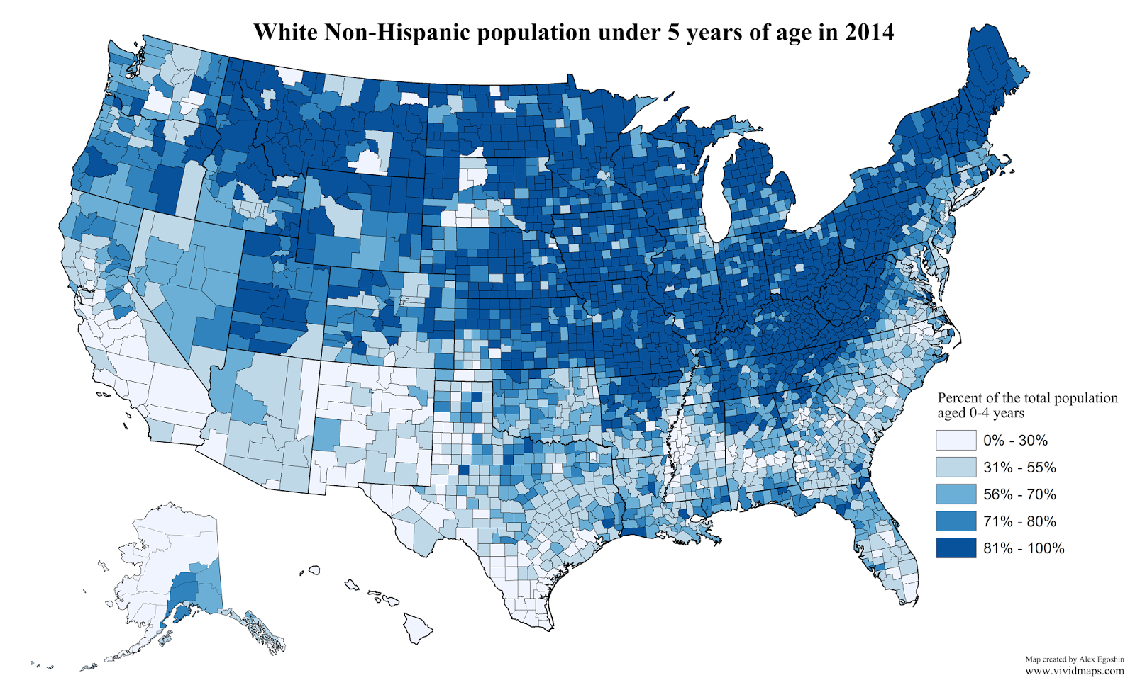 White non-hispanic population under 5 years of age in 2014