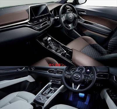 トヨタ新型C-HR マツダ新型CX-5 内装インテリア 比較画像