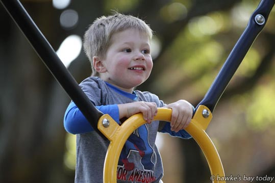 Talon Lawton, 3, Napier, playing on the playground at Anderson Park, Napier, in the warm autumn weather. photograph