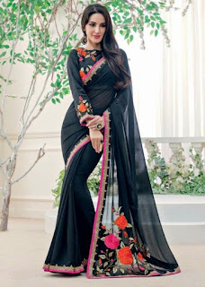Actress and models in black transparent saree latest with matching blouse Navel Queens