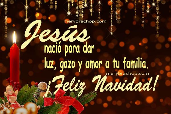 feliz navidad tarjeta con bonitas frases cristianas imagen navideña