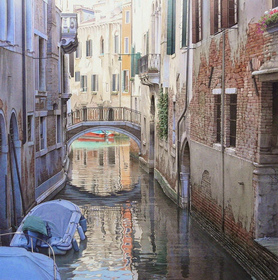 35-Venetian-Square-Thierry-Duval-Snippets-of Real-Life-in Watercolor-Paintings-www-designstack-co
