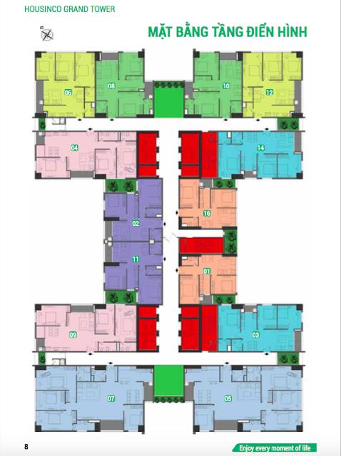 Mặt bằng căn hộ chung cư Housinco Grand Tower