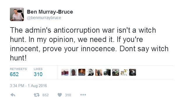 Nigerians go gaga as Ben Murray-Bruce declares Buhari's anti-corruption war is not witch hunt
