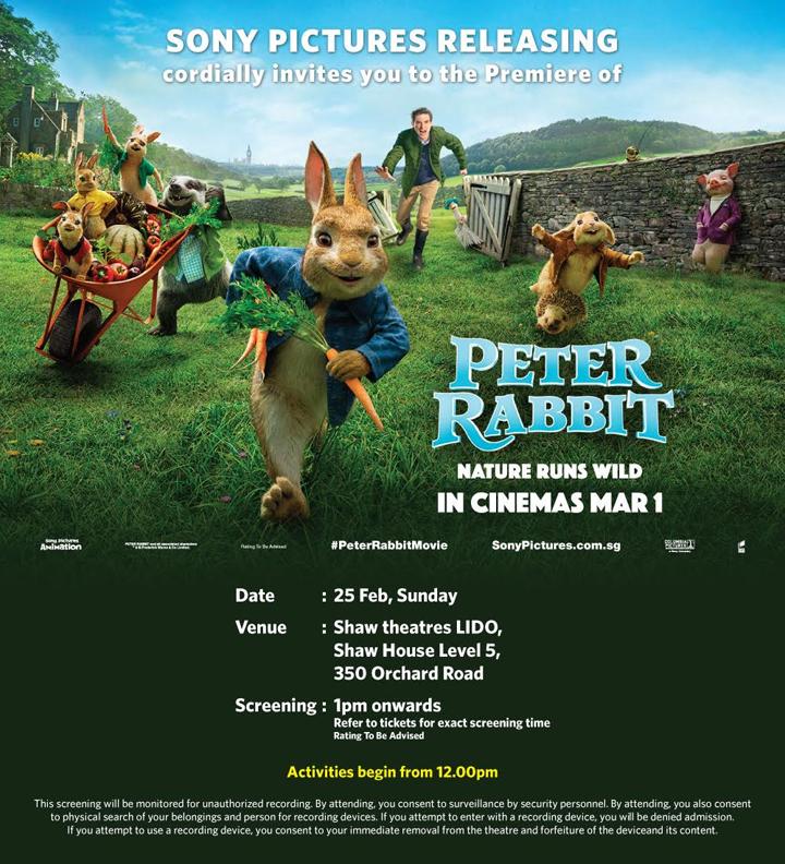 Dapat Undangan Tonton Premiere Filem Peter Rabbit di Singapura