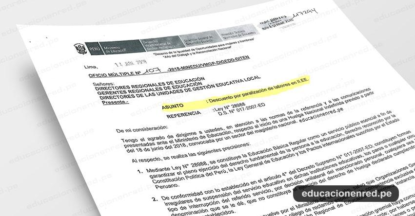 OFICIO MÚLTIPLE N° 107-2018-MINEDU/VMGP-DIGEDD-DITEN - Descuento por paralización de labores en Instituciones Educativas el Lunes 18 de Junio - www.minedu.gob.pe