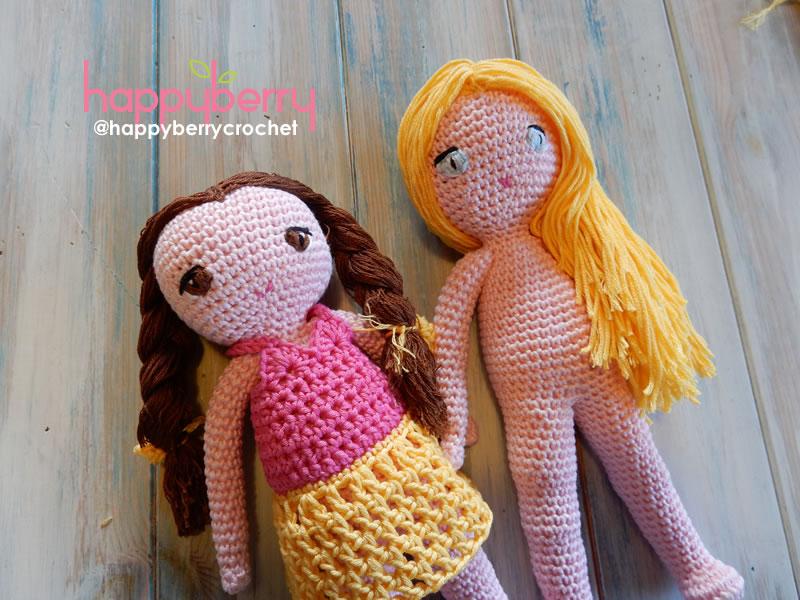 Crochet Pattern Doll : Happy berry crochet: crochet amigurumi doll cal ep3 arms and hair