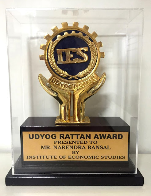 Intex Technologies' CMD Narendra Bansal awarded prestigious Udyog Rattan Award – 2016 for immense contribution to Indian industry