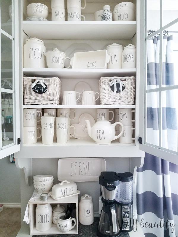 Rae Dunn coffee cabinet