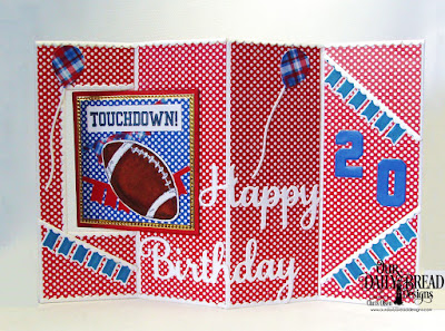 Our Daily Bread Designs Stamp/Die Duos: Football, Stamp Set:  All-Star Jersey, Paper Collection: Old Glory, Fun and Fancy Folds Card Kit: Lever, Custom Dies:  Sports Jerseys, Bitty Borders, Happy Birthday