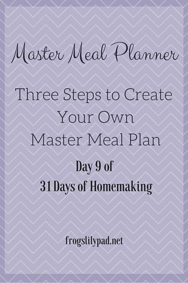 Planning a grocery list and menu is easy with a Master Meal Planner. Three steps to creating your Master Meal Planner to save your sanity. frogslilypad.net