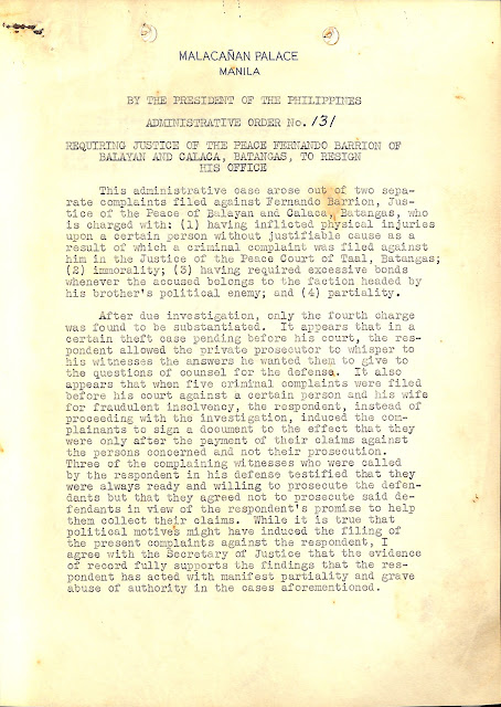 First page of Administrative Order No. 13 series of 1940.