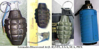 Photograph of four inert grenades.