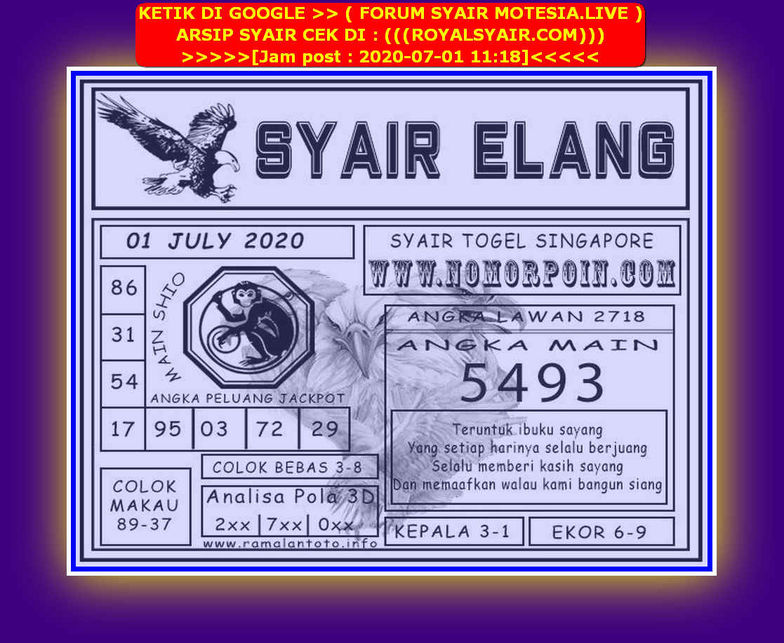 Kode syair Singapore Rabu 1 Juli 2020 145