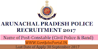 Arunachal Pradesh Police Recruitment 2017– 897 Constable (Civil Police & Band)
