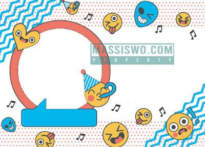 Background undangan ulang tahun keren model emoji