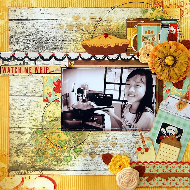 Watch Me Whip Layout by Irene Tan using BoBunny Kiss the Cook collection