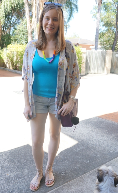 colourful summer denim shorts outfit blue and purple Somedays Lovin kimono | AwayFromBlue