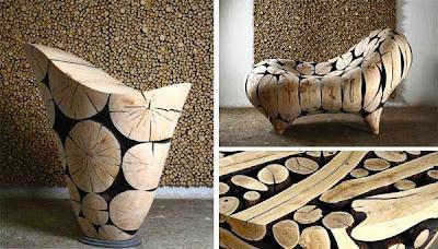 Sillones con troncos reciclados