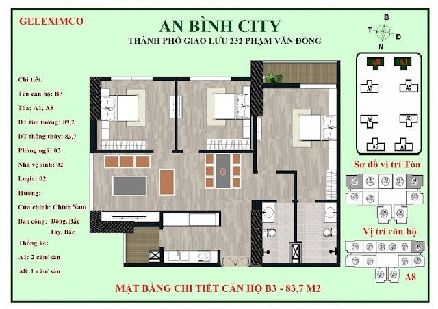 Mặt bằng căn B3 - B4 An Bình City