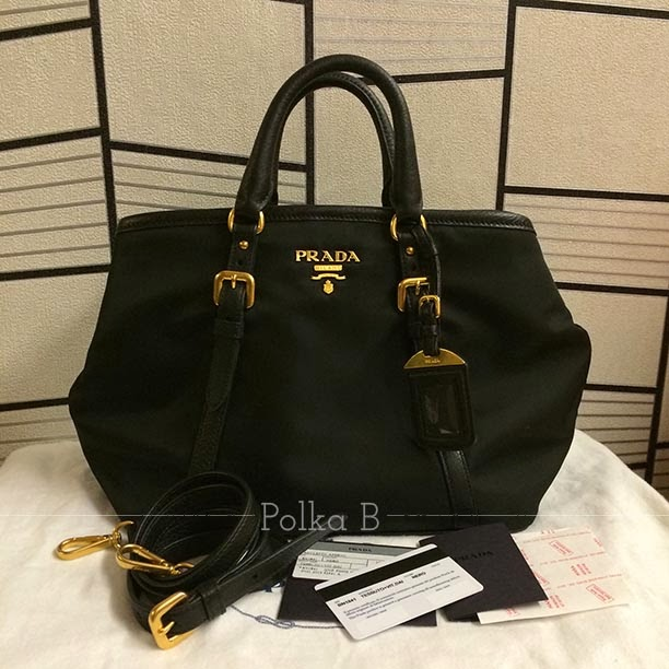 cf1b49997379 Prada Tessuto Vitello Daino Nylon Leather Satchel (BN1841) | Polka B ...